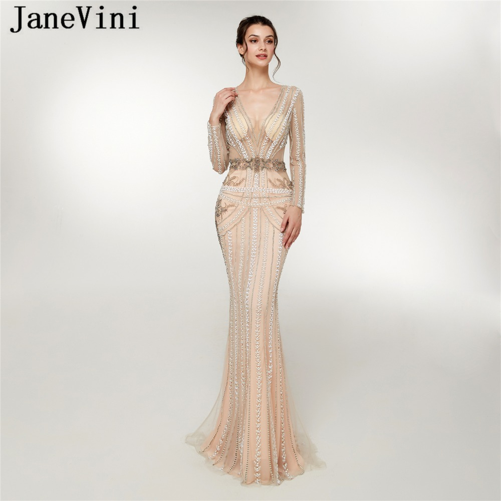 JaneVini 2018 Dubai Luxury Beading Tulle Long Sleeve   Bridesmaid     Dresses   Sexy Deep V Neck Illusion Back Mermaid Formal Prom Gowns