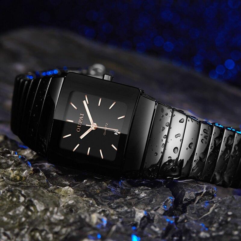 OUPAI Black Ceracmic Rectangle Men Watch with Calendar Business Tonneau Luminous Hands  Water Resistant Couple Watch-in Quartz Watches from Watches