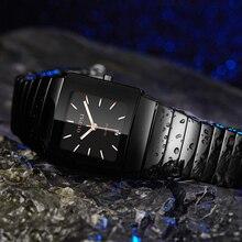 OUPAI 黒 Ceracmic 長方形メンズ腕時計カレンダービジネストノー発光手防水カップルの腕時計