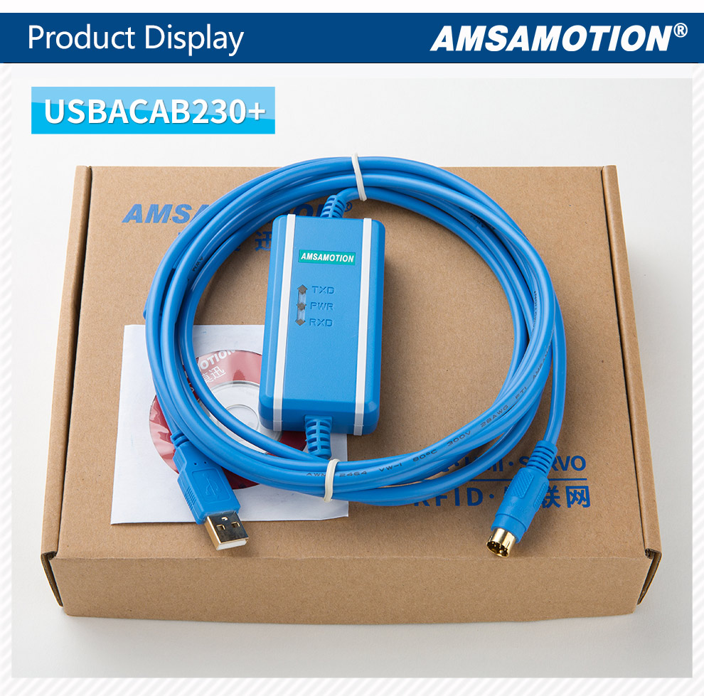 AMSAMOTION USBACAB230 USB-DVP for Delta DVP ES ex eh ec Series PLC Programming Cable Communication Download Data line Gold Plated