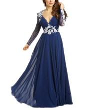 Setwell Eleganter V-ausschnitt Chiffon Lange Abendgesellschaft Kleid mit Appliques Volle Formale Feier Kleider für Frauen