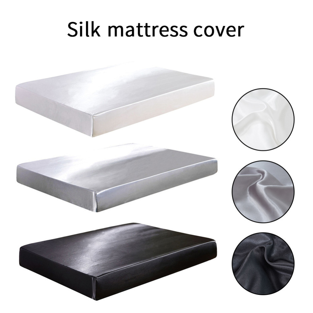 3 Color Fitted Sheet Satin Silk Bed Mattress Cover Set King Size Smooth Soft Cool Bed Sheet Elastic Rope For Summer Bedclothes