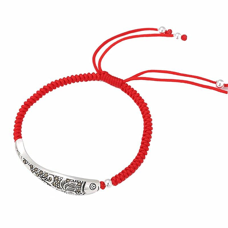 925 Sterling Silber Fisch Glück Rot Seil Armband Handarbeit Armband Wachs String Amulett Schmuck 1552