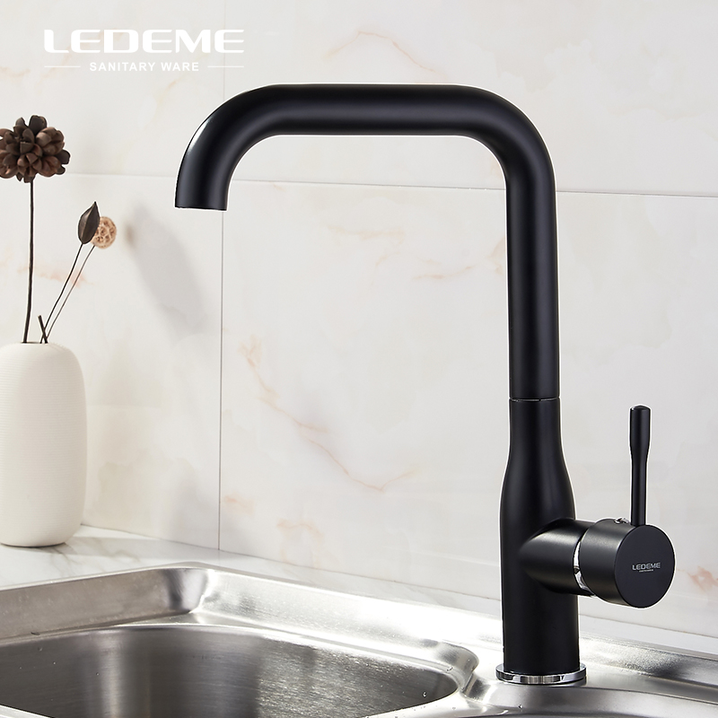 LEDEME All Black White Kitchen Sink Faucet One-Handle Bar High-Arc Brass Cold Hot Water Mixer Tap For Kitchen L4698LEDEME All Black White Kitchen Sink Faucet One-Handle Bar High-Arc Brass Cold Hot Water Mixer Tap For Kitchen L4698