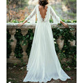 Three Quarter Sleeves A Line Chiffon Wedding Dress Casual Backless Bridal Gowns 2017 Custom Made Summer Style Castle Modern
