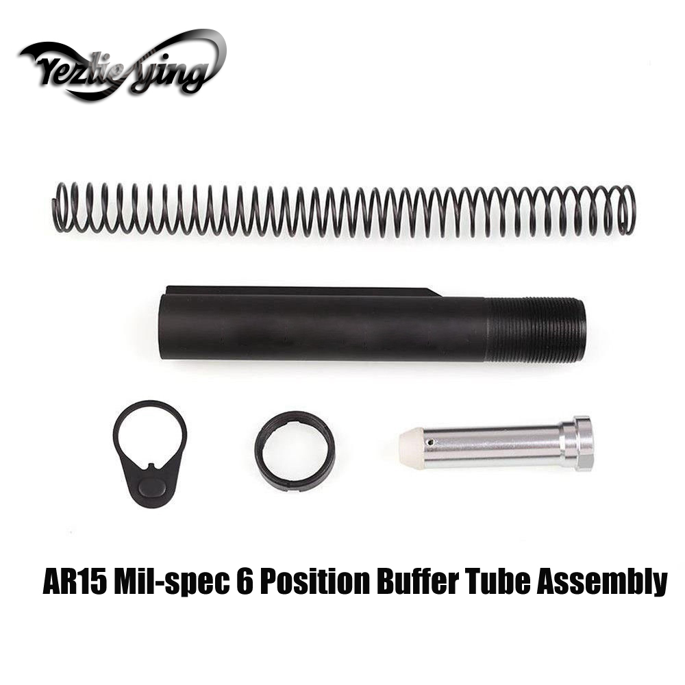Tactical Hunting AR15 Mil-spec 6 Position Buffer Tube Assembly / Kit with Mil-spec Size Stocks AR15 Hunting Accessories