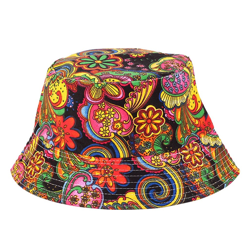 Men Women Bucket Hat Flower Print Cap 2018 Summer Hot Sale Flat Hat Fishing Boonie Bush Cap Outdoor Sunhat Wholesale #FM11 (3)