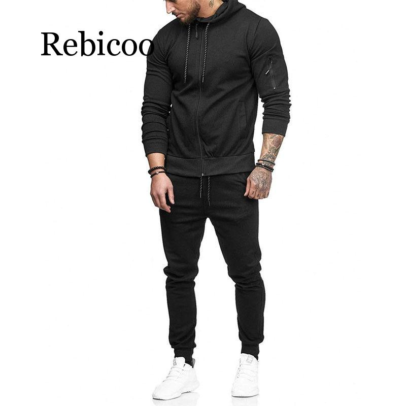 Rebicoo 2019 New Style Fashion Hot Men 39 s Top Solid Zipper With Pocket Suit Hoodie Coat With Hat Trousers Pant Set in Men 39 s Sets from Men 39 s Clothing