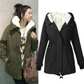 2017 Warm Winter Womens Oversized Parka Casual Outwear Military Hooded Thicken Fleece Coat Women's Winter Long Jackets Coats 5XL