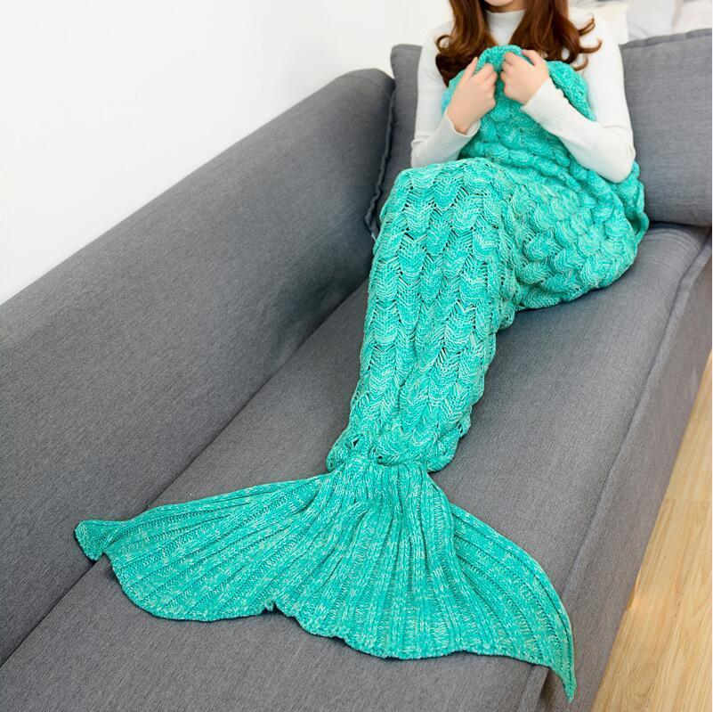 CAMMITEVER 2017 New Mermaid Blanket High Quality Blankets Knitting Fish Tail Blanket Sofa Cover Birthday Gifts For Girls