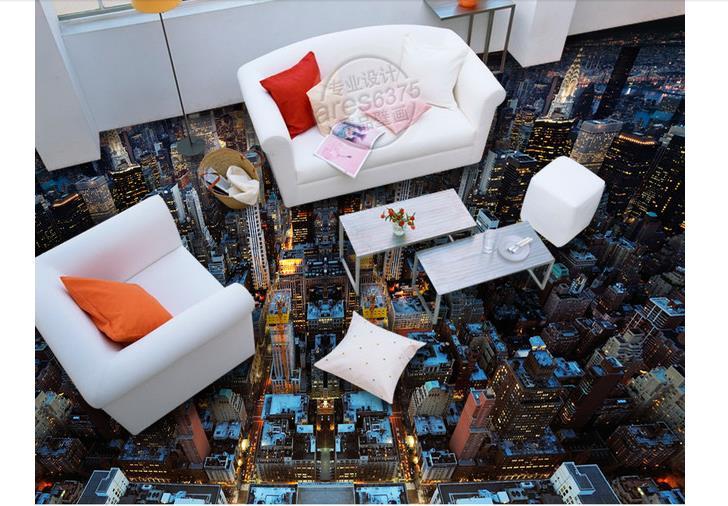 3d Foto Tapete Custom 3d Boden Malerei Tapete Stadt Licht Boden