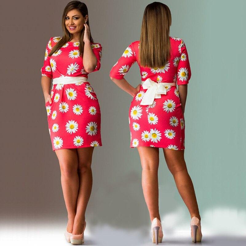 fashionable floral print women dresses big sizes 2017 plus size ...