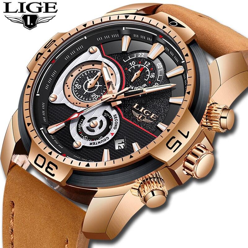 Reloje 2018 LIGE hommes montre homme en cuir automatique date Quartz montres hommes de luxe marque étanche Sport horloge Relogio Masculino