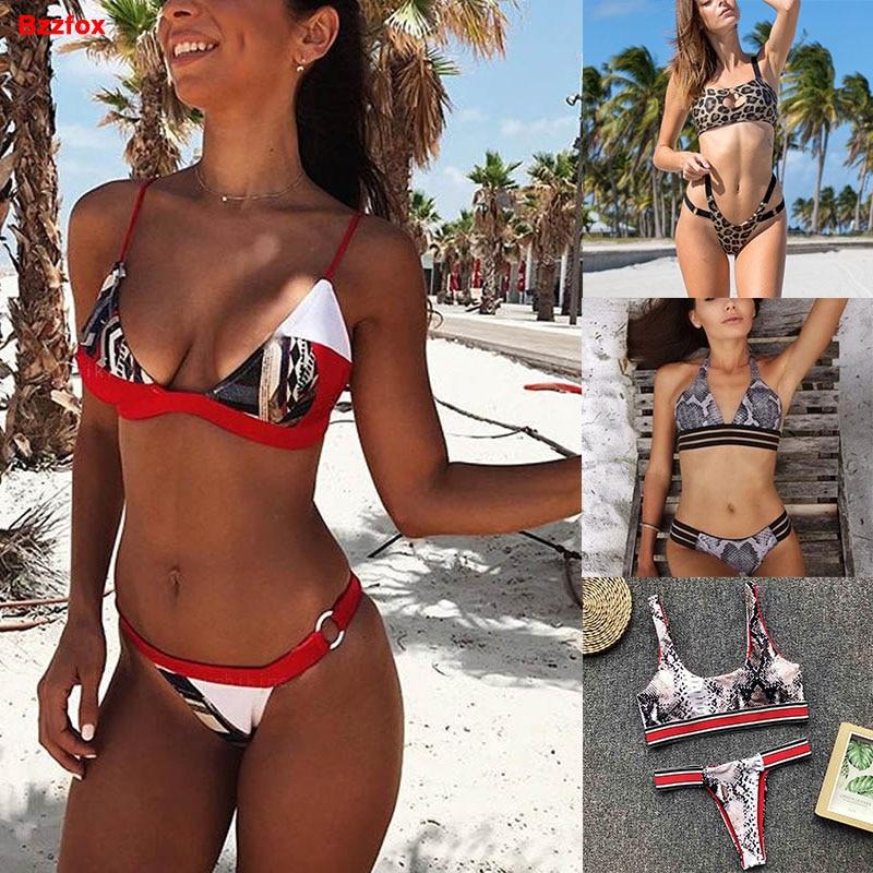 Butterfly Bandeau Push Up Black Bikini Halter Neck Swimwear Set Padded Swimsuit