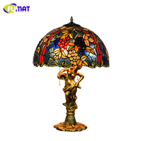 FUMAT European Style Grape Shade Table Lamp Home decor Art Stained glass Table Lights for Living Room Bedside LED Table Lamp|LED Table Lamps| |  -