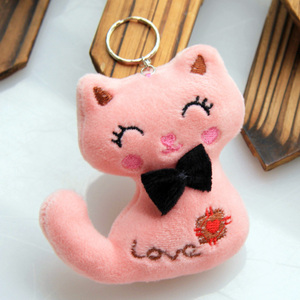 Image 5 - Size 8CM NEW Cat With Bow Plush Animal Stuffed Cat Key chain Toy Kids Party Plush Toy Bouquet Plush Dolls