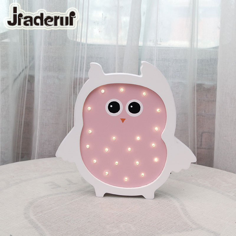 Jiaderui LED Kids Night Lights Wooden Moon Owl Baby Table Lamp Children Birthday Gift Bedroom Living Room Indoor Decor Wall Lamp 3d led night light indoor wall lamp for children baby room cute cloud star moon rc remote controller desk table lampara
