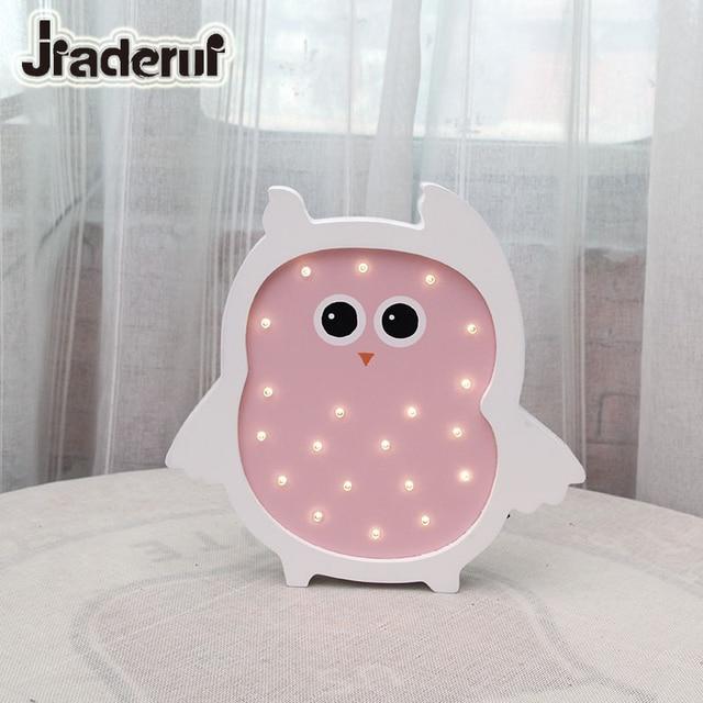Jiaderui LED Kids Night Lights Wooden Moon Owl Baby Table Lamp ...