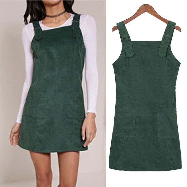 Vintage Women Dungaree Short Tank Dress Solid Color Plain Elegant Top Ladies Casual Cord ...