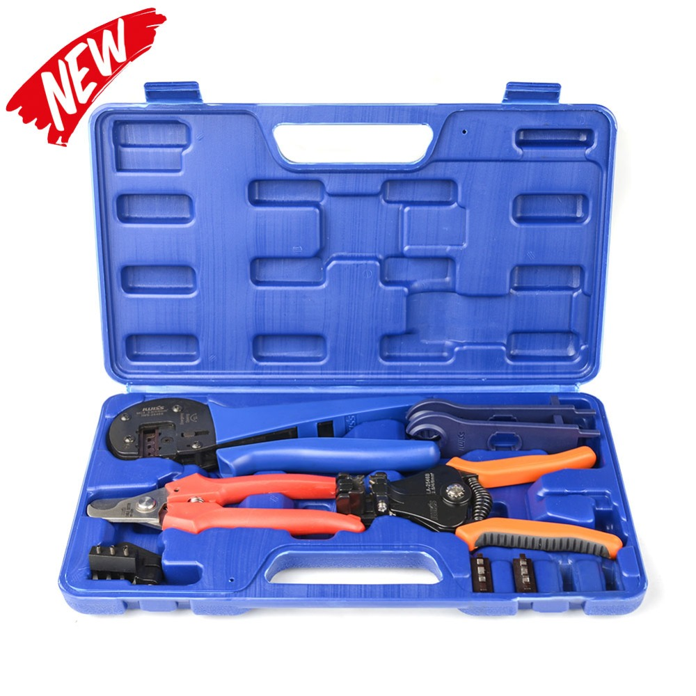 IWISS KIT 2546S MC4 Solar Crimping Crimper Plier Tool Kit with Stripper Cutter MC4 Spanners and
