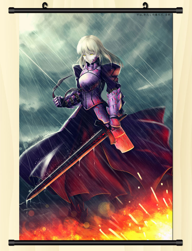Cm Saber Fate Wall Scroll Peinture Anime Peintures Mur