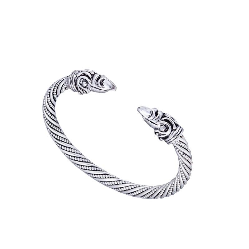 Hand Punk Jewelry Antique Silver/Gold Viking Bangle Cuff Viking Crow Raven Carter Bracelet Men Pagan Jewelry