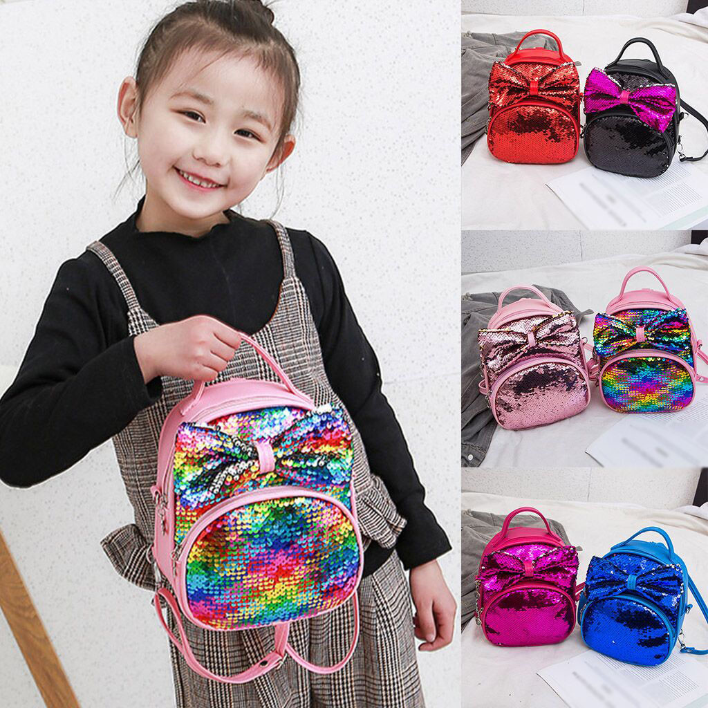 Fashion bags for women 2019  Fashion Parent-Child Sequin Bow Travels Backpack Shoulder Bags Messenger bolsa feminina#35(China)
