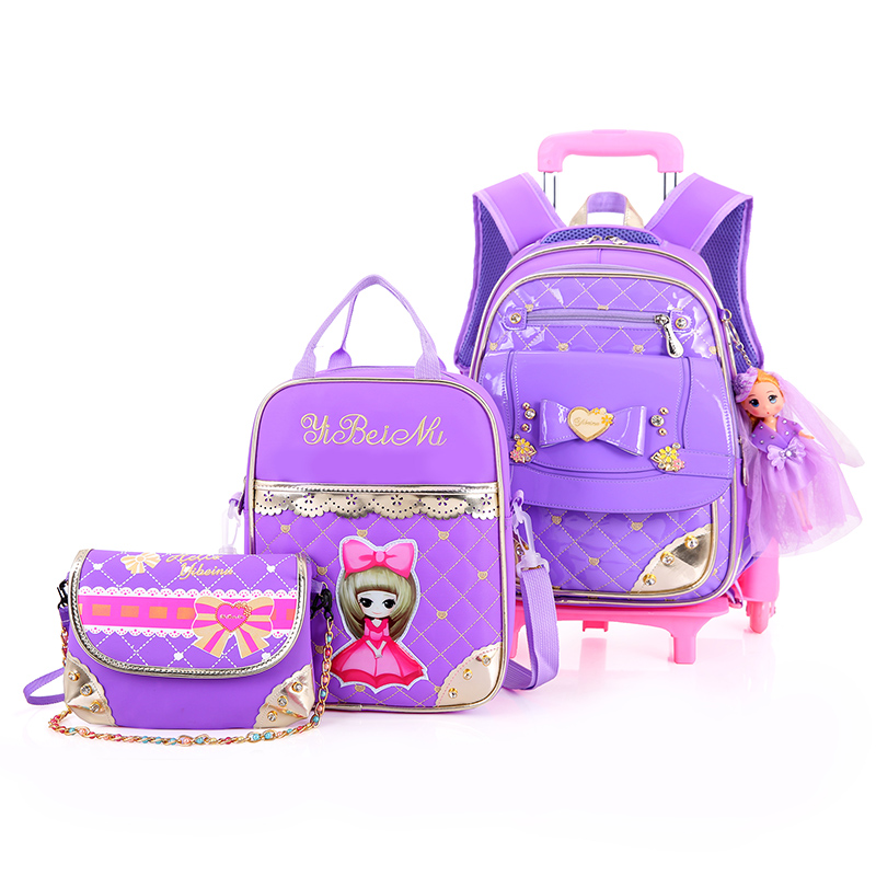 2017 Removable Children School Bags with 3 Wheels Child Climb Stair Trolley Backpack Kids Wheeled Bags Girls waterproof Bookbag 6 wheels high quality girls trolley backpack schoolbag wheeled bags for children trolley school bag boys detachable backpack
