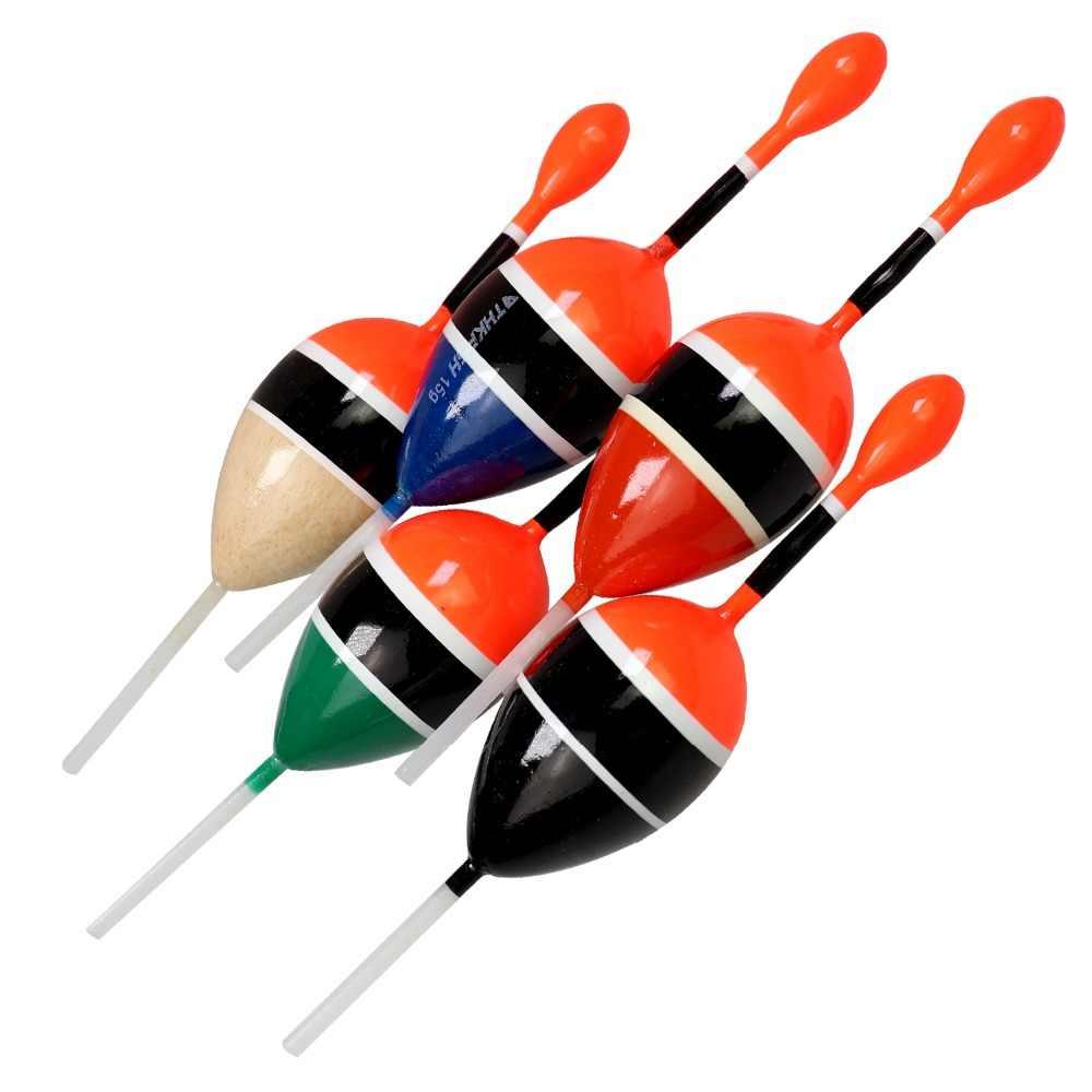 5pcs Floaters Ocean Round Balsa Wood Soft Tail Fishing Slip Float Bobbers 5g//15g