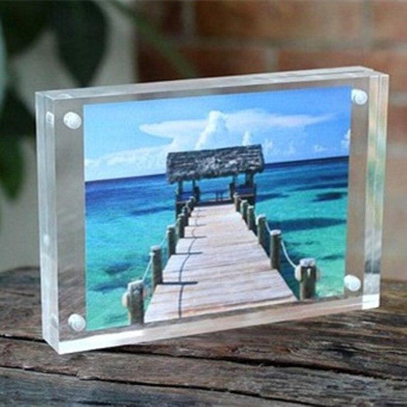 1 SET Acrylic Transparent Rectangle Magnet Photo Frame Sheet Europe Simple Fashion Picture Frame Plastic PMMA Board
