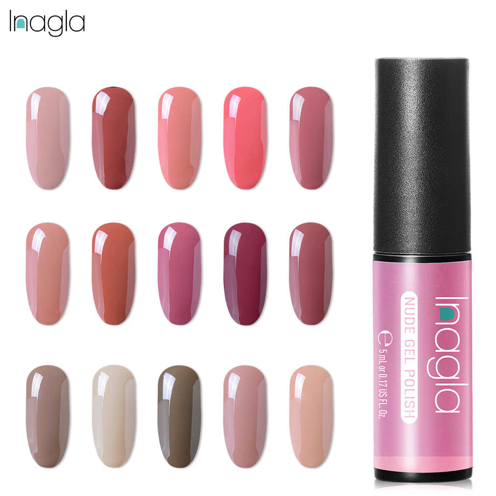Inagla Nude Pure Color Gel Nail Polish 5ml Varnish  Nail Art Lacquer Base Top Coat Semi Permanent Acrylic Gel Lacquer UV Lamp