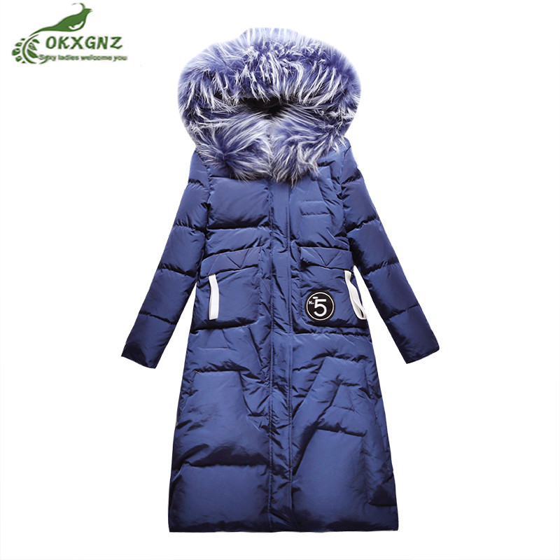 Winter Down cotton Outerwear female medium long new knee thicken white duck down jacket coat women hooded warm coat tide OKXGNZ skinnwille 2017 new products down jacket in winter more female in long white duck down even the chinstrap collars winter