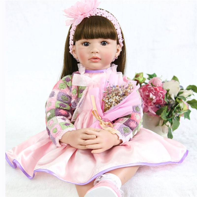 58cm Handmade silicone reborn baby doll toy newborn girl babies soft Bebe Reborn Dolls For Girl's favorite long-haired princess
