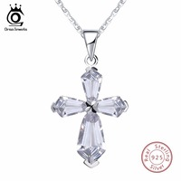 ORSA JEWELS Genuine 925 Sterling Silver Women Pendant Necklace With Chain Cross Shape AAA CZ Female