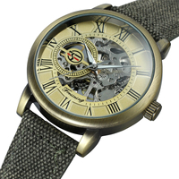 FORSINING Mechanical Automatic Skeleton Watch Men Steampunk Wrist Watch Hand Wind Bronze Antique Leather Clock Mens