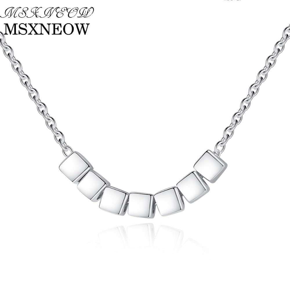 MSXNEOW sept perles carrées en argent chaîne collier 925 en argent Sterling femmes mode pendentif bijoux usine en gros Fine SN0055