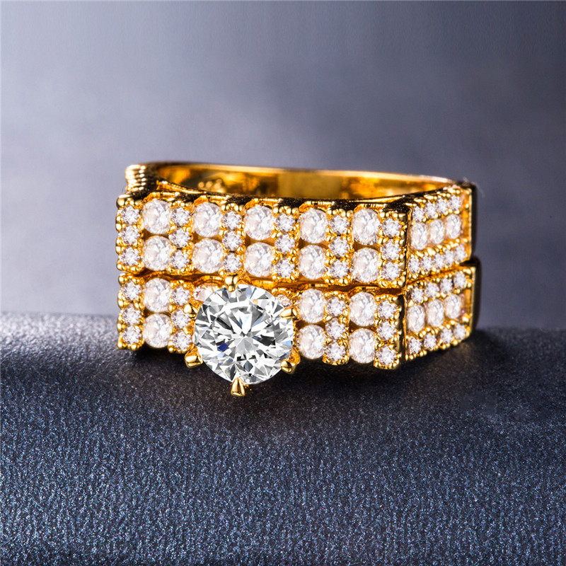 HUITAN Luxury 2PC Ring Sets Silver Gold Rose Gold New Gothic Stylish Wedding Couple Ring Sets New Design Solitaire Jewelry Ring in Engagement Rings from Jewelry Accessories