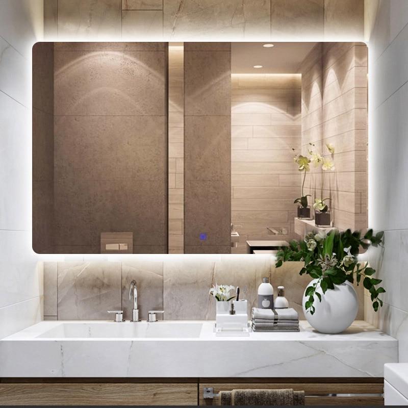 European Wall Mirror Led Light For Bathroom Big Mirrors Mural Anti Blur Smart Touch Control 220v Warm White Lamp Color Bluetooth Bath Mirrors Aliexpress