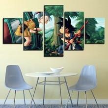 HD Printed Pictures Decor Frame Canvas Painting 5 Panel Dragon Ball Girl And Goku Wall Art Home Poster For Living Room Modern
