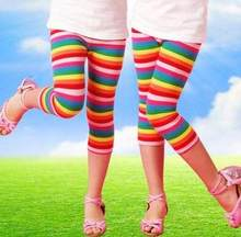 c11b7511087 Free shipping! wholesale girls leggings children summer rainbow stripe  leisure shorts fashion