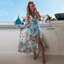 Женское платье макси с цветочным рисунком в стиле бохо; летнее пляжное платье без рукавов с v-образным вырезом и высокой талией; длинное платье с разрезом; вечернее платье для отдыха; поступление сарафана