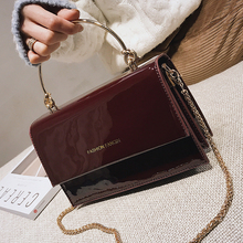 2019 Female Top Handle Flap Square Bag Patent Leather Should