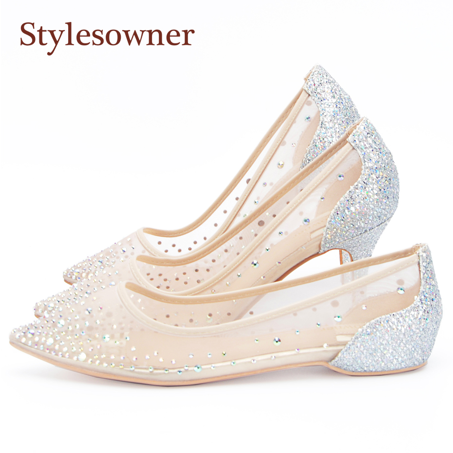 Stylesowner Hottest Lady <font><b>Sexy</b></font> Wedding <font><b>Shoe</b></font> Transparent Mesh Diamond Bling <font><b>Shoes</b></font> Pointed Toe Sequins Party High Heel Sapatos 41 image