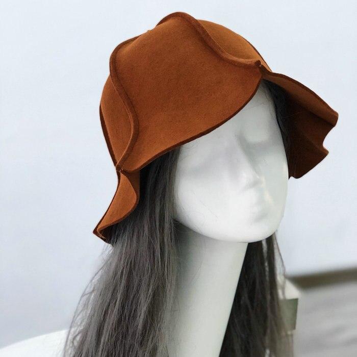01808-pei23306 winter 100% wool striped leisure warm bucket cap men women warm hat