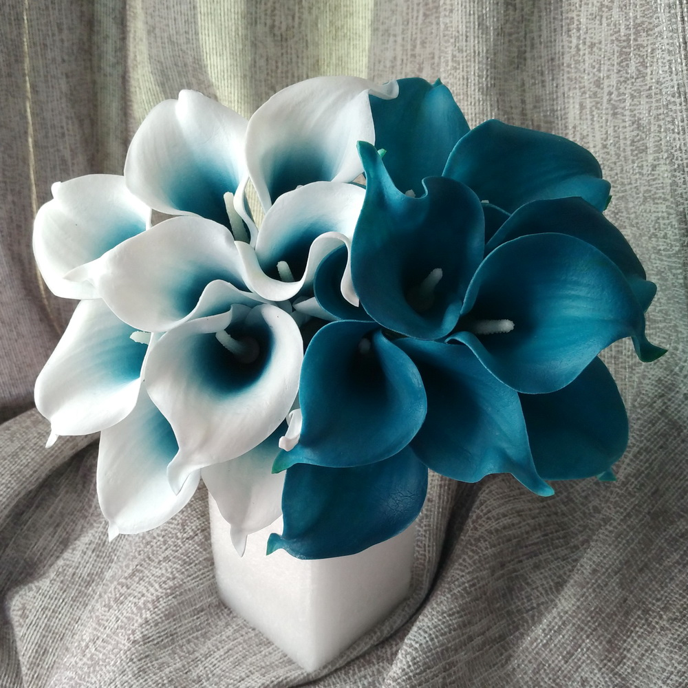 100 Real Touch Calla Lily Teal Latex Lilies Blue Wedding Flower For Centerpieces Decoration Whole Flowers