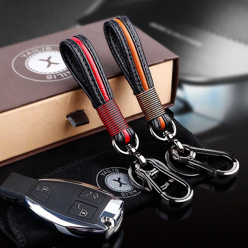 Porte-clés de voiture en cuir fait à la main porte-clés homme et femme taille suspendue porte-clés pour Audi BMW Volvo Lexus KIA Toyota