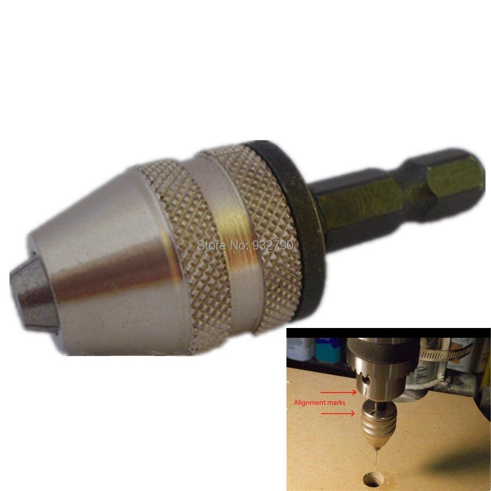 1//4Inch Hex Shank Keyless Drill Chuck Quick Change Adapter0.3-8mm Universal