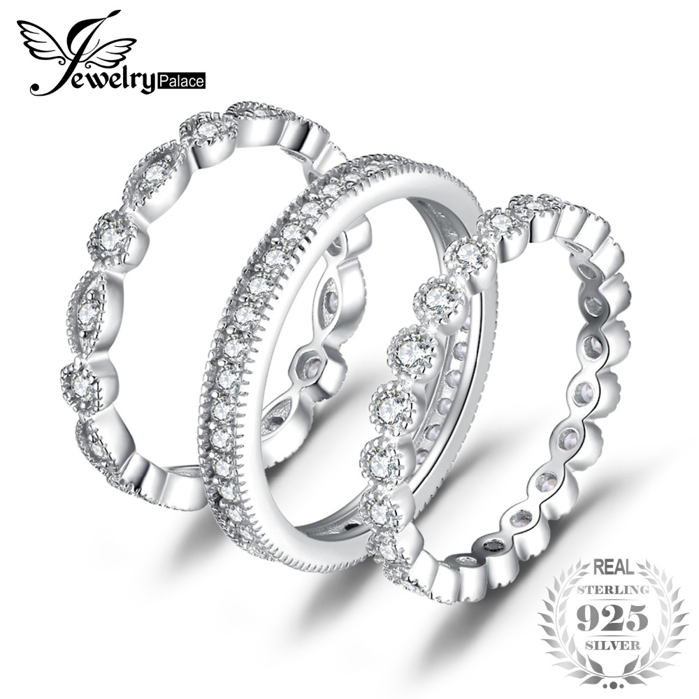 Bild von JewelryPalace Fashion 2.15ct Cubic Zirconia 3 Eternity Band Rings For Women Pure 925 Sterling Silver Ring Fashion Newes Jewelry