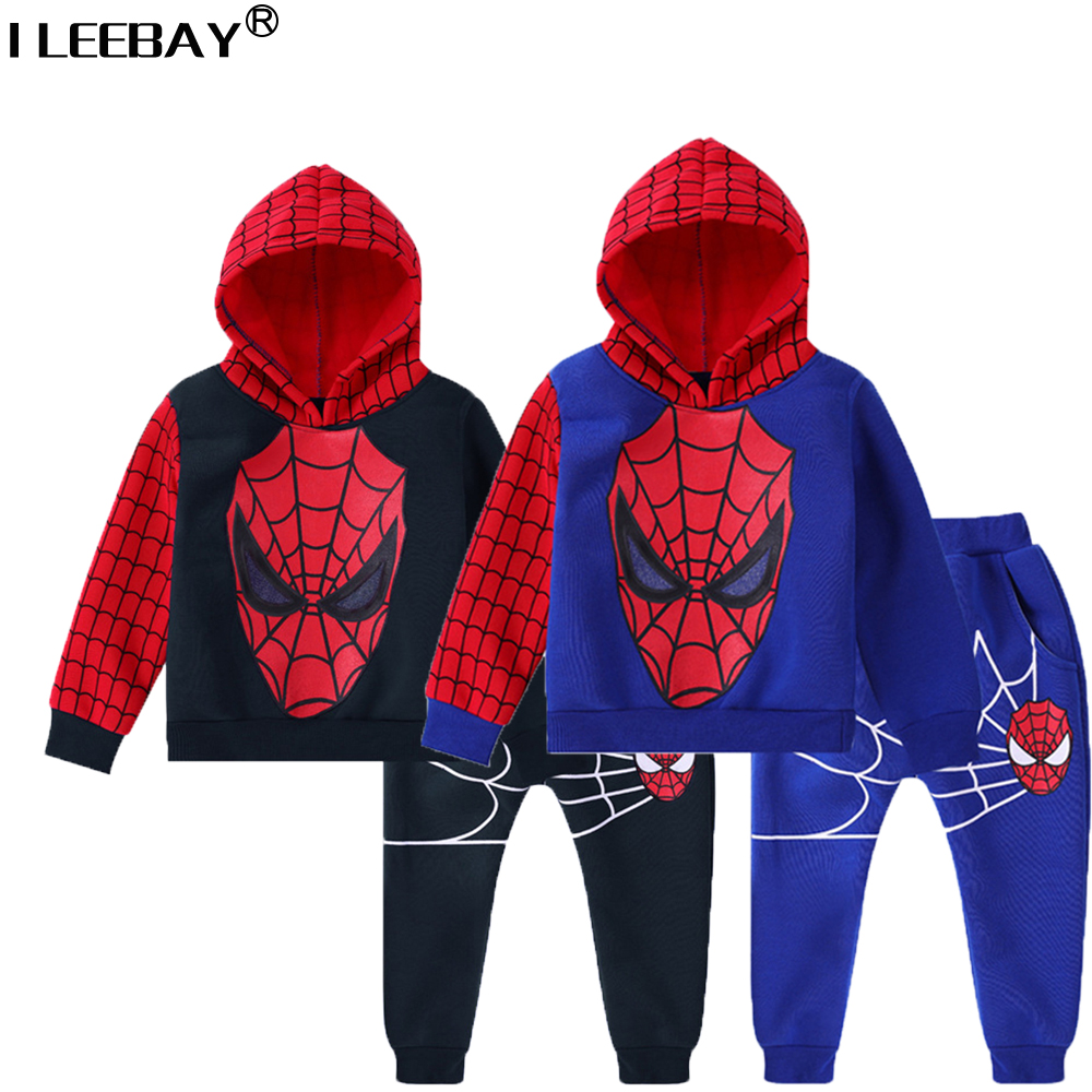 Baby Boys Clothes Plus Velvet Children Spiderman Tracksuit Boy Clothing Sets Kids Sports Sweatshirts Set Hoody+Pants 2pcs Suits