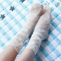 OLN KCT EU36 46 Pricness fashion Lace Floral Hollow Ventilation Fishnet Short Slim Sock Summer New Sock(5 pairs / lot )